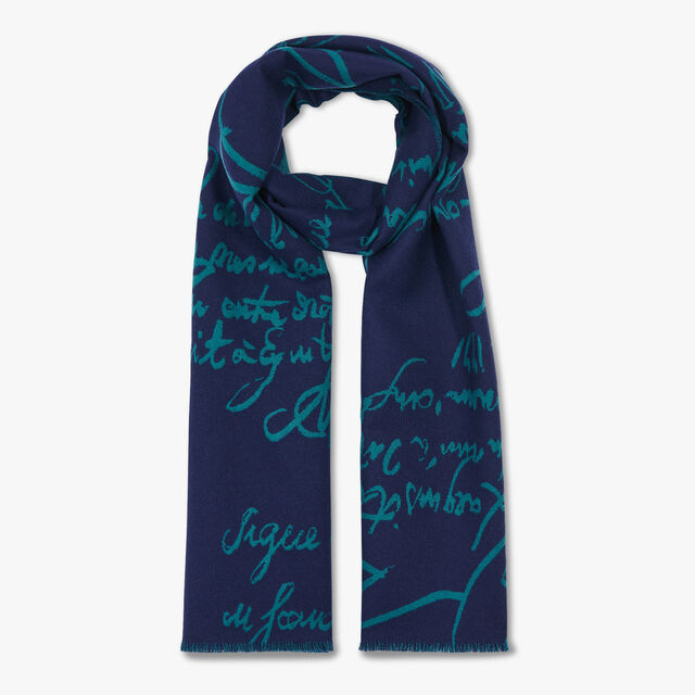 Wool Jacquard Scritto Scarf, OCEANIC WAVE / ALPINE GREEN, hi-res
