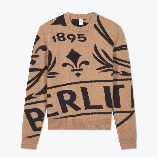 Crest Jacquard Cashmere Sweater, CAMEL, hi-res