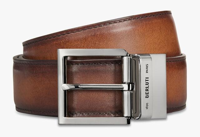 Venezia  Scritto leather 35 MM Belt , MOGANO + NERO GRIGIO, hi-res