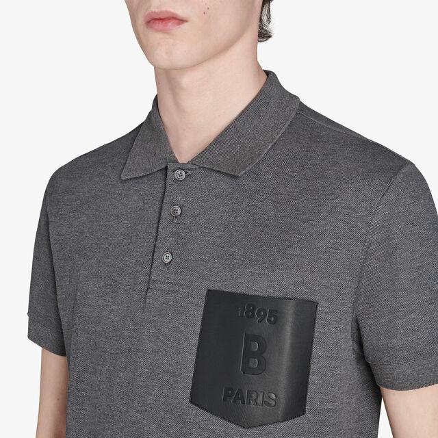 有皮革口袋的棉POLO衫, LEAD, hi-res