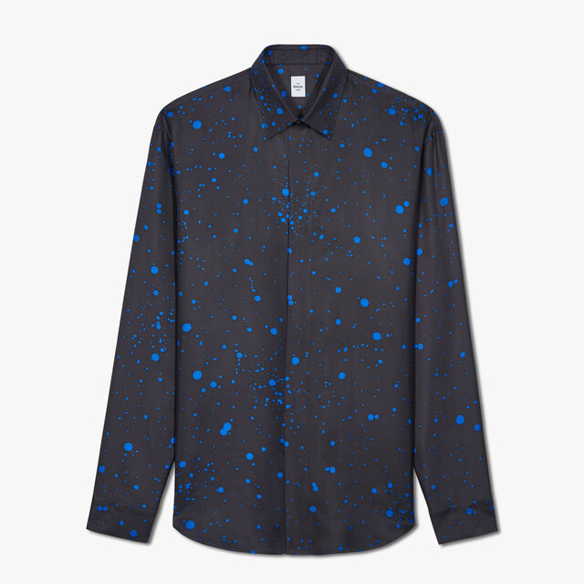 Patina Spot Silk Shirt, RAIN BLUE, hi-res