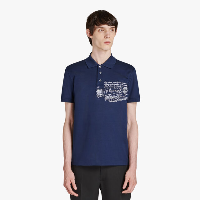 Regular-Fit Scritto Cotton Piqué Polo, MAZARINE BLUE, hi-res