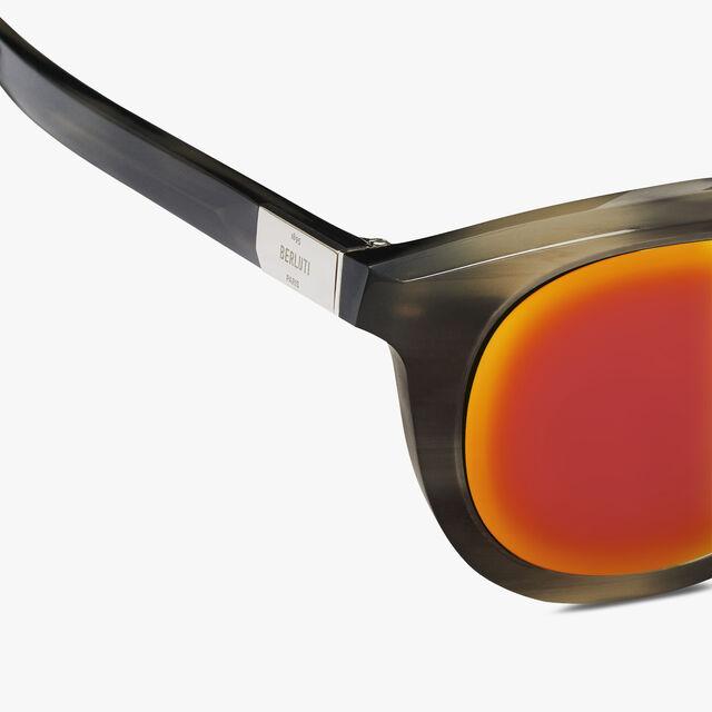 Halo Round Shape Acetate Sunglasses, GREY HORN, hi-res