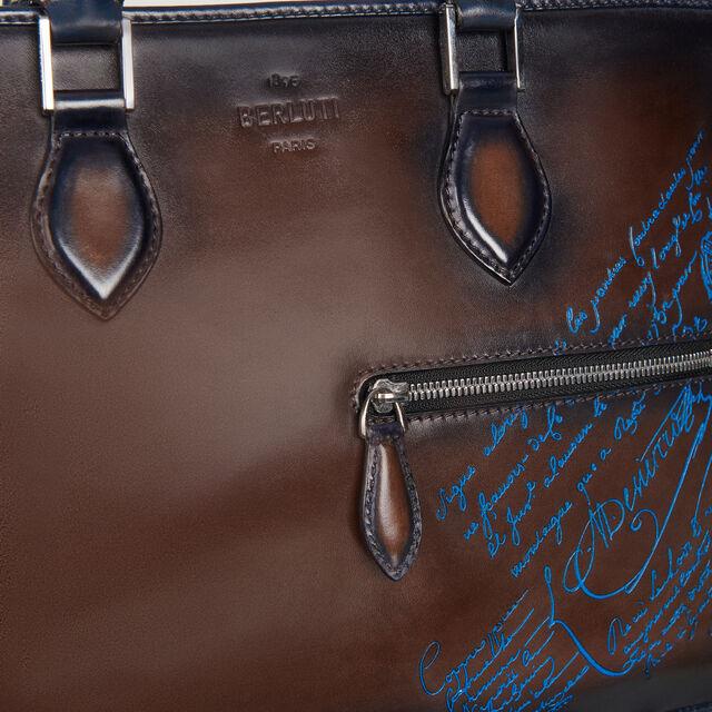 Porte-documents Un Jour Mini En Nylon et Cuir Scritto, BURNT BLUE, hi-res