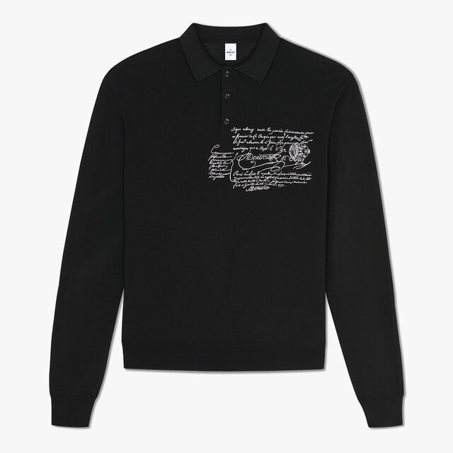 Regular Fit Scritto Embroidered Wool Polo Shirt, NOIR, hi-res