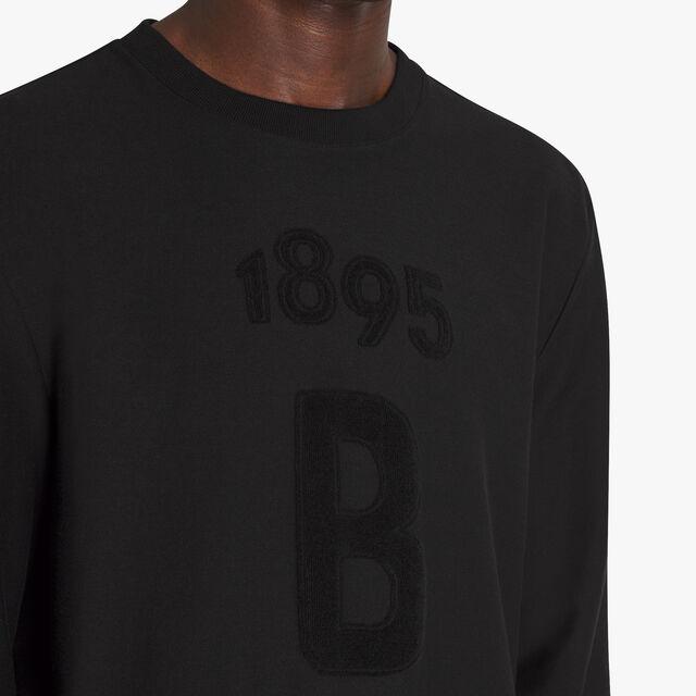 Jacquard Terry Cloth Logo Cotton T-Shirt, NOIR, hi-res
