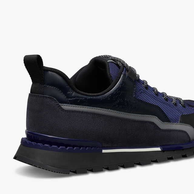 Fast Treck Scritto Leather and Nylon Sneaker, NAVY, hi-res