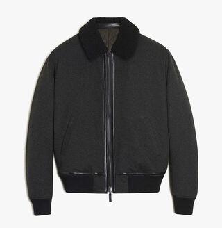 Cashmere Flight Jacket, DARK GREY, hi-res