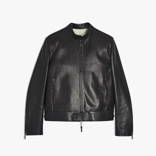 Unlined Calf Leather Biker Jacket, NOIR, hi-res