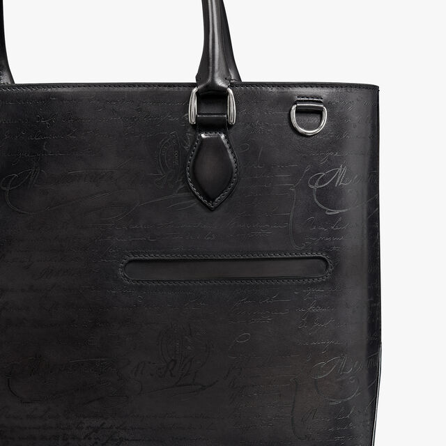 Toujours Scritto Leather Tote Bag, DEEP BLACK, hi-res
