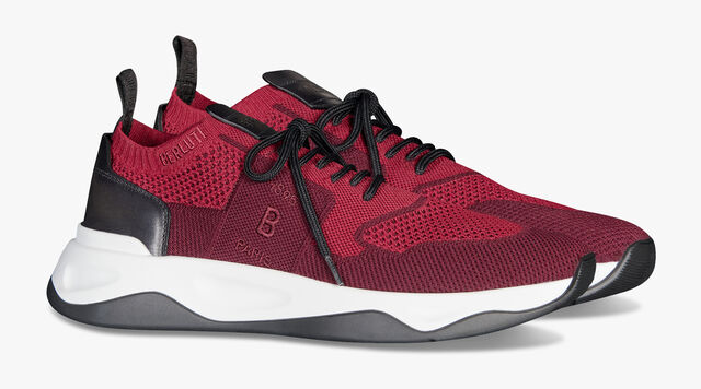Shadow Knit And Leather Sneaker, DARK CHERRY, hi-res
