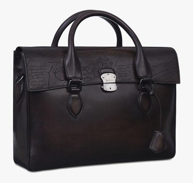 E'Mio Scritto Leather Briefcase, EBANO, hi-res