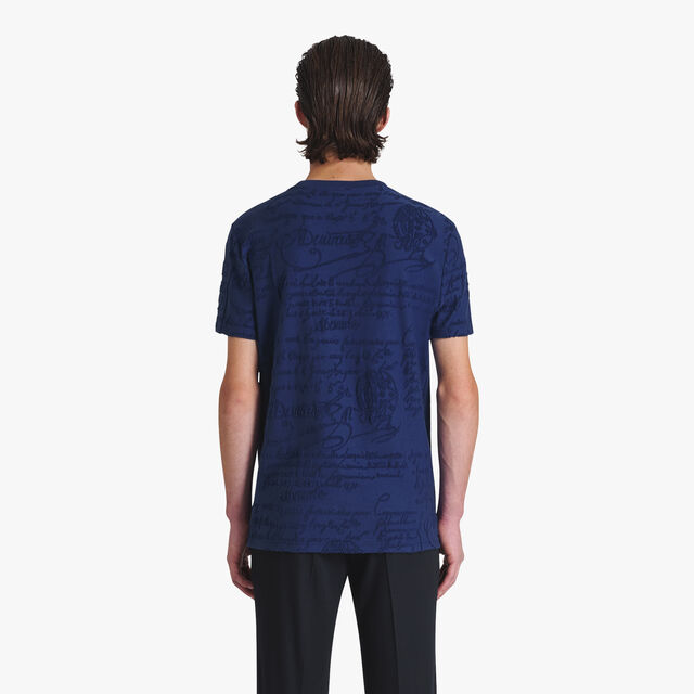 All-Over Terry Cloth Cotton T-Shirt, FRENCH NAVY, hi-res