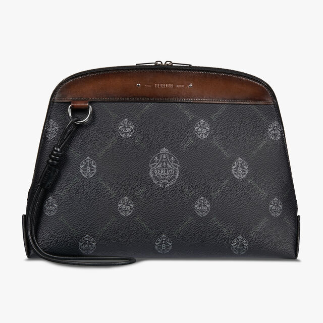 Ninorigami Canvas and Leather Clutch , BLACK + TDM INTENSO, hi-res