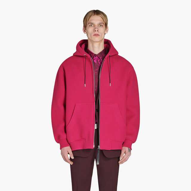 Oversize Zipped Wool Hoodie, BERRY PINK, hi-res