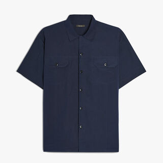 Cotton and Cashmere Bowling Shirt, BLUE NAVY, hi-res