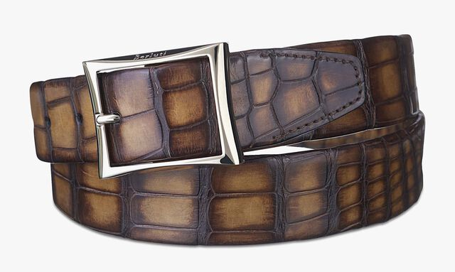 Classic Alligator Leather Belt - 35 mm, TOBACCO BIS, hi-res