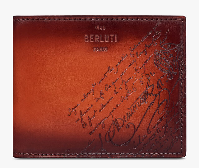 Makore Slim Scritto Leather Wallet, TERRACOTTA, hi-res
