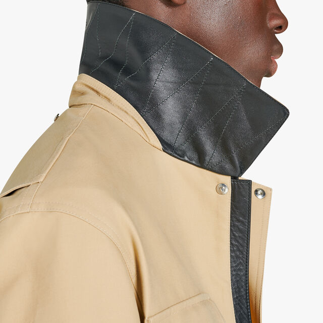 Cotton Field Jacket With Leather Details, NEUTRON, hi-res