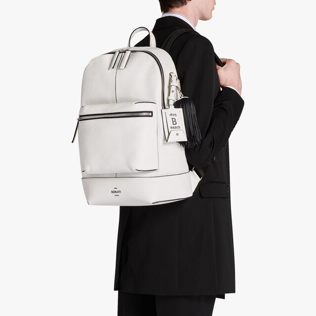 Calf Leather Bag Tag, WHITE BLACK, hi-res
