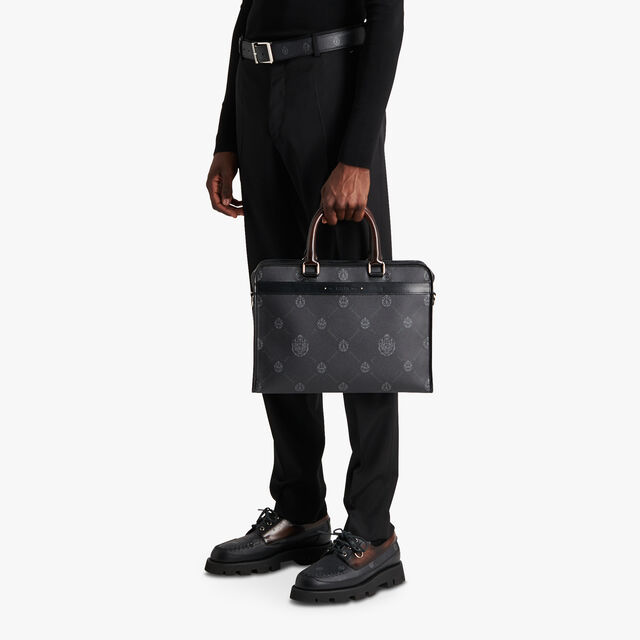 Journey Canvas And Leather Briefcase, BLACK + TDM INTENSO, hi-res