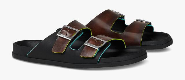 Egio Leather Strap Sandal, BRUN+YELLOW, hi-res