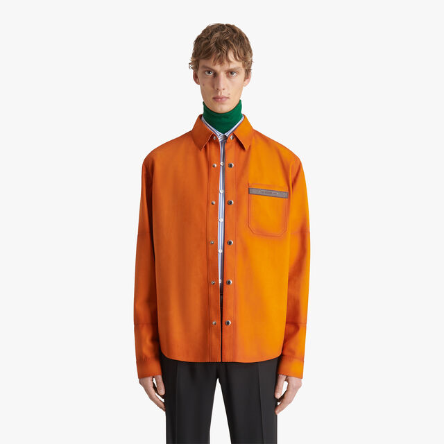 Nubuck Leather Shirt With Patina Effect, SHADED ORANGE, hi-res