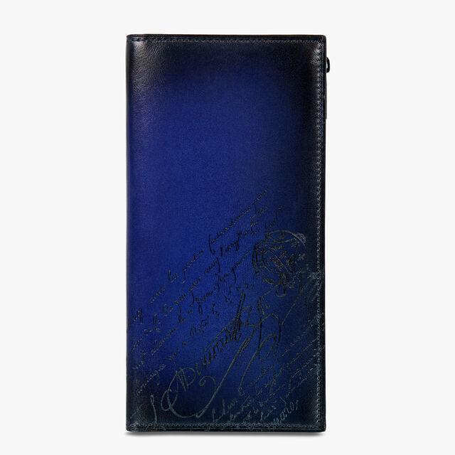 Neo Santal Scritto Swipe Leather Long Wallet, UTOPIA BLUE, hi-res