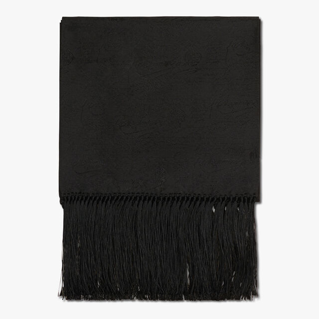 Rectangular Scritto Evening Silk Scarf With Fringes, NOIR, hi-res