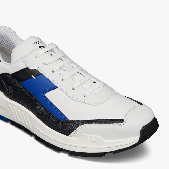 Pulse Canvas and Leather Sneaker, BLACK + WHITE + BLUE, hi-res