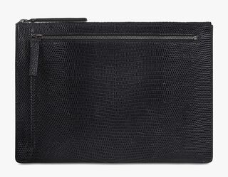 Band Lizard Leather Clutch, NERO, hi-res