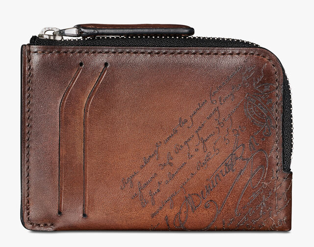 Corner Epure Medium Scritto Leather Zipped Card Holder, MOGANO, hi-res