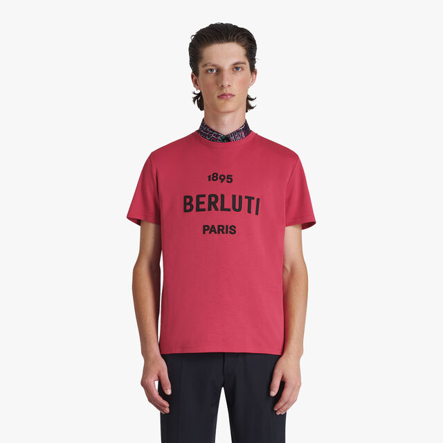 Cotton Short-Sleeve T-Shirt With Embroidered Logo, TECNO MAGENTA, hi-res