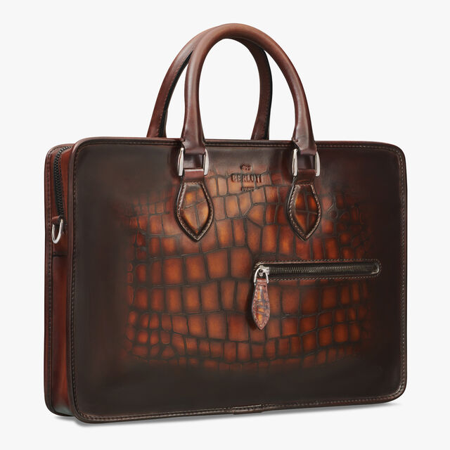 1 Jour Mini Leather Patina Illusion Scales Briefcase, TOBACCO BIS, hi-res