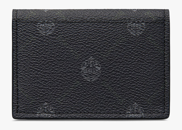 Imbuia Canvas And Leather Card Holder, BLACK+UTOPIA BLUE, hi-res