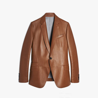Unlined Leather Blazer, HAZELNUT, hi-res