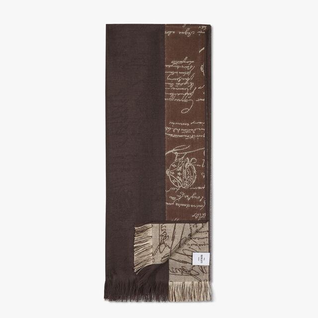 Cashmere And Silk Scritto Scarf, DARK CHOCOLATE, hi-res
