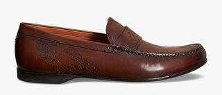 Leandro Bari Engraved Scritto Venezia Calf Leather Loafer, MOGANO, hi-res