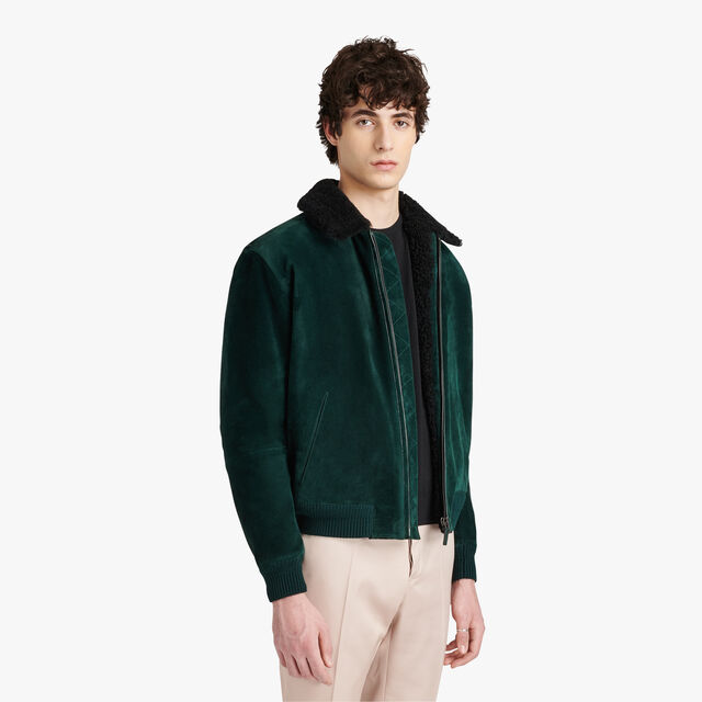 Leather Flight Jacket, BRITISH GREEN, hi-res