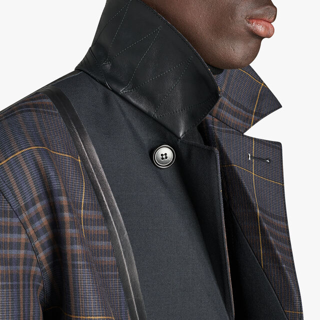 Long Wool Car Coat With Leather Details, NOIR/CAOS NIGHT CHECK, hi-res