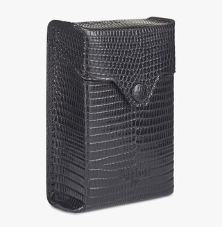 Lizard Leather Cigarette Case, NERO, hi-res