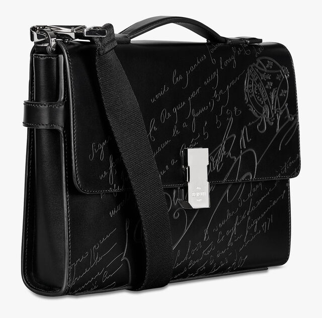 Prisme Small Scritto Leather Briefcase, BLACK, hi-res