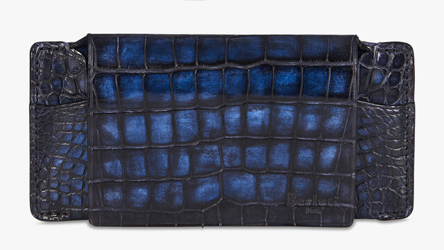 Alligator Leather Sunglasses Case, NERO BLU, hi-res