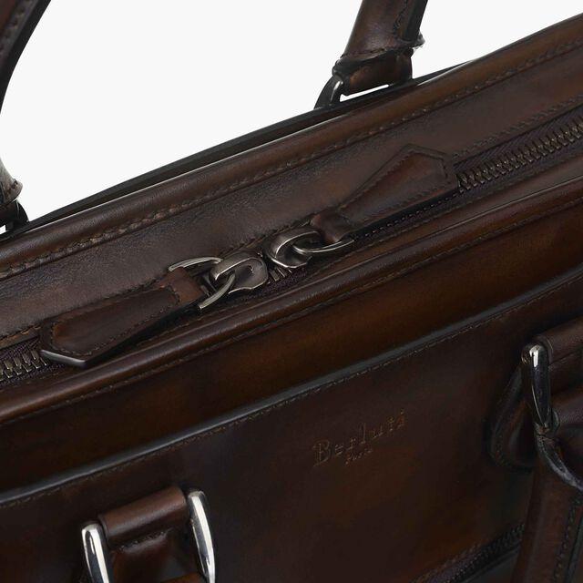 Un Jour Small Leather Briefcase, TOBACCO BIS, hi-res