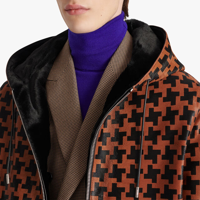 Leather Houndstooth Blouson With Kangaroo Lining, CAMEL, hi-res