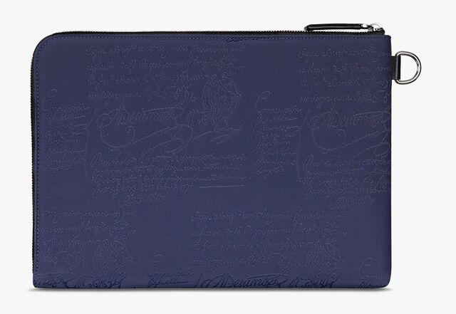 Nino Large Nylon and Leather Scritto Clutch, BURNT BLUE, hi-res