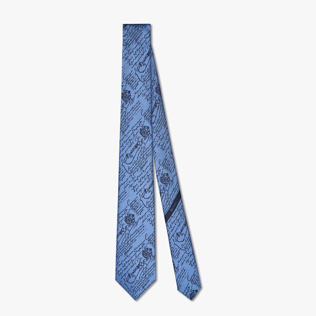 Scritto Silk Tie, BLEU CIEL, hi-res
