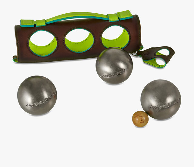 Plain Leather Petanque Set, BRUN+YELLOW, hi-res