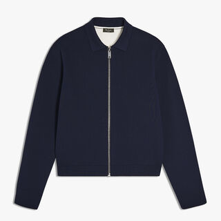Silk and Cotton Zip-Up Jacket, BLUE MOON, hi-res