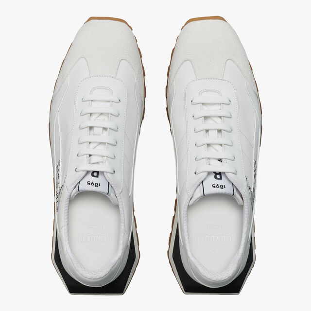 Graphic Leather, Suede and Nylon Sneaker, WHITE, hi-res